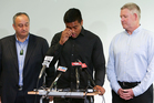Julian Savea reads a statement to media about his assault charge while Hurricanes CEO James Te Puni (L), and NZRU CEO Steve Tew look on during a press conference. Photo / Getty Images.