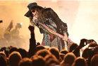 Aerosmith frontman Steven Tyler revs up the crowd during last night's concert at Forsyth Barr Stadium in Dunedin. Photo / Craig Baxter.