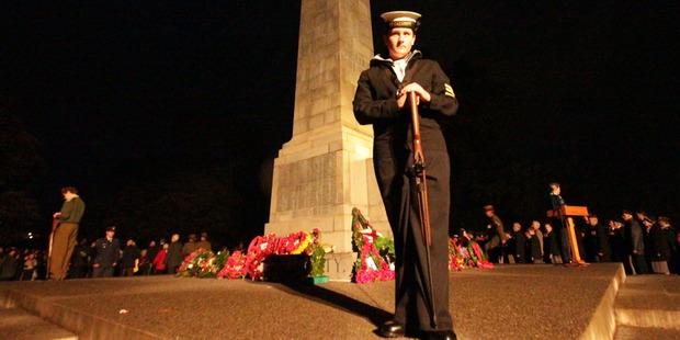 Wanganui Anzac Dawn Service. Sea Cadet Shane Rowe posts guard.  Photo / Stuart Munro