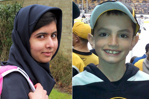 Martin Richard, 8 (right) was killed in the Boston Marathon bombings and Malala Yousafzai, 15, was shot by a Taliban gunman. Photos / AP