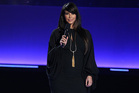 Kim Kardashian on stage at the MTV Movie Awards. Photo/AP