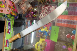 This machete was stored by a Dunedin dairy owner next to the shop's synthetic cannabis supplies. Photo / Supplied