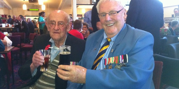Old soldiers David Smith (left) and Alan Burgess at the Rangiora RSA sharing Second World War stories. Photo / Kurt Bayer