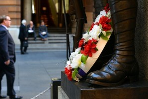 The statue of a soldier at The Cenotaph Martin Place in down town Sydney. Photo / AFP