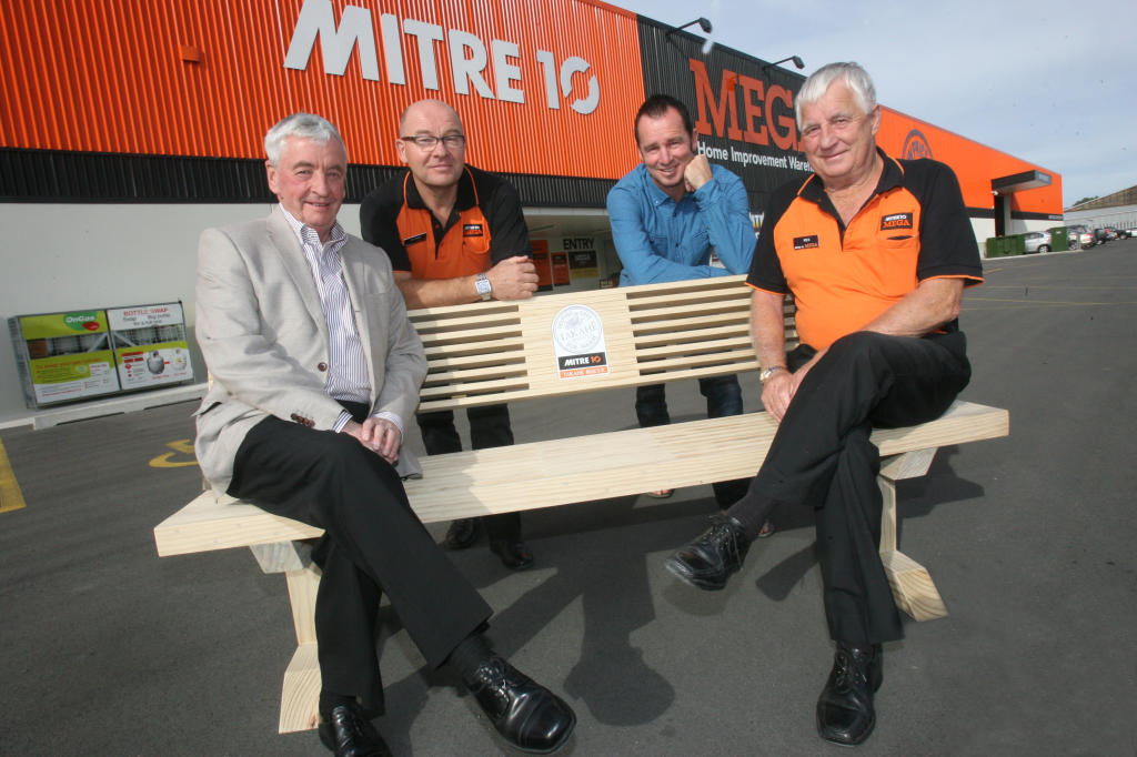 wta150413lfseat.jpg Mitre 10 donate 2 park benches to Pukaha Mt Bruce. From left Bob Francis, chairman of the board Pukaha, Ejvind Frederiksen, owner director, Aaron Slight, shareholder,  and and Rex Slight, owner director.