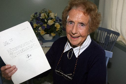 FUNNY THING: Dawn Wylie-Stichbury with the letter she received from comedian and Goon Show star Spike Milligan in 1987.