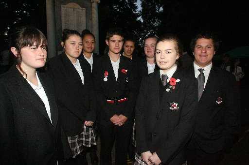 Anzac Day Dawn Ceremony of Remberance at the Cenotaph at Queen Elizabeth Park, Masterton.  Members of the Makoura College Services Academy from left Zoe Bowater, 16, Tori Johnson, 17, Aaliyah Rimene, 16, Tom Feringa, 16, Nykyta Kuri, 17, Kimberley Smith,