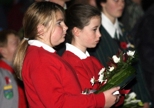 Anzac Day Dawn Ceremony of Remberance at the Cenotaph at Queen Elizabeth Park, Masterton.  Over two and a half thousand people turned out for a dawn service under a clear sky after heavy rain during the night. Girls from Masterton Intermediate School le