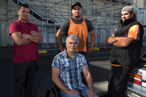 Wally Noble with his sons (from left) Graham, Tipene and Thomas, all scaffolders. Photo / Brett Phibbs