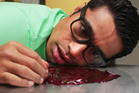 Shortland Street star Pua Magasiva with some delicious fake blood. Photo / Doug Sherring