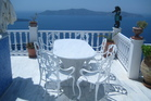 Chantal and George's villa, Sea Horse Residence, in Santorini, overlooks the Aegean Sea. Photo / Supplied