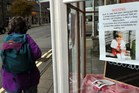 An appeal poster for information on April Jones is displayed in a window Machynlleth, mid-Wales. Photo / AP
