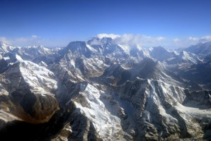 Mount Everest and The Himalayan mountain range, some 140kms north-east of Kathmandu. Photo / AFP