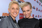 Ellen DeGeneres with her partner, Portia de Rossi. Photo / AP
