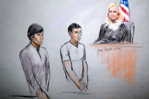 Friends of the Boston bombers, Dias Kadyrbayev, left, and Azamat Tazhayakov appearing in front of Federal Magistrate Marianne Bowler. Image / AP