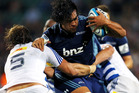 Steven Luatua of the Blues charges into Andries Bekker of the Stormers during the round 12 Super Rugby match between the Blues and the Stormers. Photo / Getty Images.