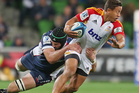 Bundee Aki of the Chiefs is tackled by Hugh Pyle of the Rebels during the round 12 Super Rugby match between the Rebels and the Chiefs. Photo / Getty Images.