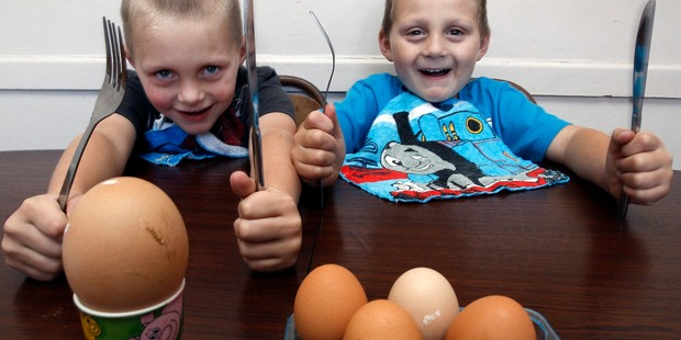 Alan, 5 and Logan, 4 are looking forward to tucking into a giant egg laid by their chicken. Photo / John Stone