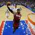 Miami Heat's LeBron James goes up for a dunk in the first half of an NBA basketball game against the Philadelphia 76ers in Philadelphia. Photo / AP
