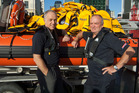Sir Graham (right) with Coastguard New Zealand chief executive Patrick Holmes. Photo / supplied