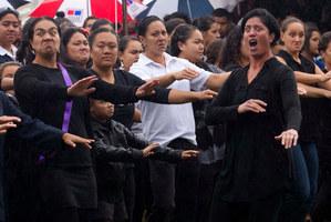 An emotional haka is performed as the coffin of former Maori Affairs Minister Parekura Horomia is brought onto Hauiti Marae at Tolaga Bay this morning. Photo / Alan Gibson