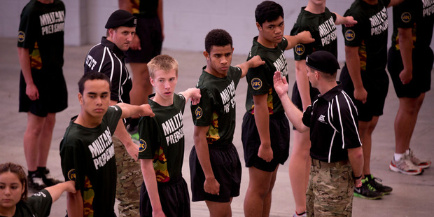 Students at the Advance Training Centre (ATC) military prep school on the North Shore, this week. Photo / Dean Purcell