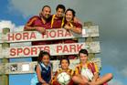 The Beckham family: Jason Parangi, Jordan-Lee Parangi (4), Rachel Beckham, Taine Rolton (13), Henare Parangi (6) and Tahlia-Rose Parangi (11) at Hora Hora Sports Park in Whangarei. Photo / Supplied