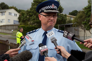 Kapiti-Mana District Commander Inspector Paul Basham during a press conference at Penguin Grove, Porirua, after the incident. Photo / Mark Mitchell