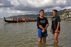 Piripi Houia (left) and Anahera Tutengaehe have been mixing fun and education at Port Waikato. Photo / Water Safety NZ