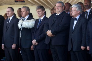 Members of the National Party sending their respects yesterday. Photo / Alan Gibson