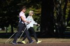 Rachel Grunwell takes Nordic walking in her stride in Cornwall Park. Photo / Getty Images