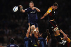 Ali Williams of the Blues wins lineout ball during the round seven Super Rugby match between the Chiefs and the Blues. Photo / Getty Images