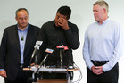 Julian Savea reads a statement to the media about his charge. Photo / Getty Images