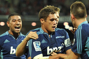 Jackson Willison of the Blues celebrates after scoring the only try in Brisbane. Photo / Getty Images