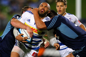 The Blues defended staunchly to beat Bryan Habana and the Stormers. Photo / Getty Images