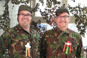 Dad's Army ... comedians Rhys Darby (right) and Jarred Christmas dress up for Anzac Day. Photo / Supplied