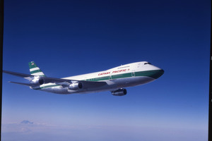 A Cathay Pacific 747 with the old 'lettuce leaf' livery used in 1983. Photo / Supplied