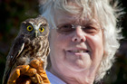 Chrissy Jefferson with Holden the morepork after the bird miraculously escaped death when hit by a car and dragged 20km. Photo / Andrew Warner