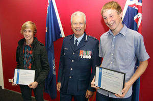 Angus Bailey, Police Commissioner Peter Marshall and Liam Robinson at the Canterbury Police District Awards Ceremony. Photo /  Geoff Sloan