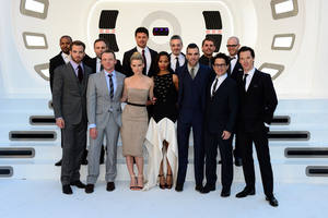 The 'Star Trek: Into Darkness' cast pose for a group shot on the red carpet during the UK premiere. Photo / Supplied