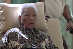 The ailing anti-apartheid icon Nelson Madela  three weeks after being released from hospital. Photo / AP