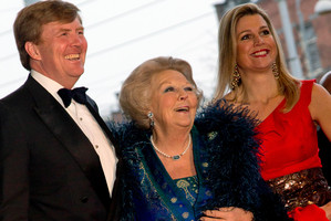 Queen Beatrix of the Netherlands (centre), Crown Prince Willem Alexander and his wife, Princess Maxima. Photo / AP