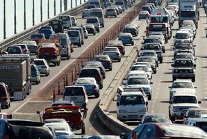 Congestion on the Auckland Harbour Bridge. Photo / Brett Phibbs