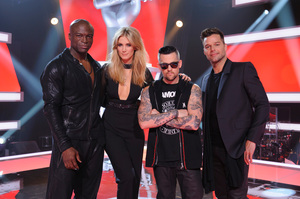 Judges Seal, Delta Goodrem, Joel Madden and Ricky Martin face the crowd instead of the stage in  The Voice Australia . Photo / Supplied