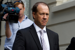 Ex- Hanover Director Mark Hotchin leaves the High Court in Auckland. Photo / Brett Phibbs