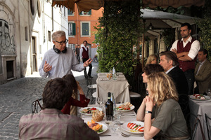 Director Woody Allen, standing left, talking with the cast during the filming of To Rome With Love. Photo / AP
