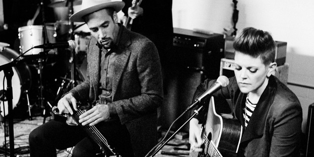 Natalie Maines in the studio with Ben Harper. Photo / Supplied