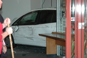 The car came to a stop inside the office section of the bank. Photo / Bay of Plenty Times
