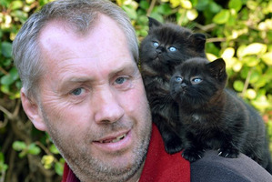 Murray Shieffelbien is making sure his kittens do not stray after finding six cats - including three hanging from trees - dead in Navy Park, South Dunedin. Photo / Stephen Jaquiery