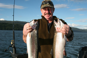Harold Chapman scored his first trout while fishing on Lake Tarawera recently. Photo / Supplied